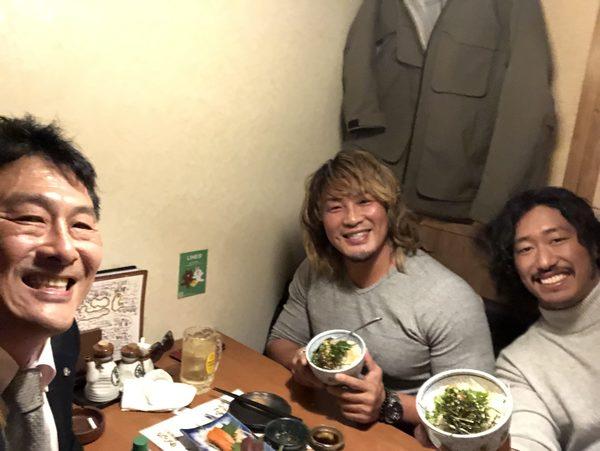 棚橋選手、辻選手と食事