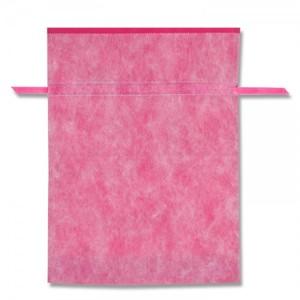 不織布巾着袋 Wシャンテタイプ LL 無地 ピンク 5枚