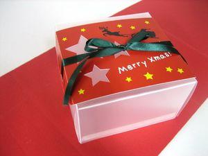 クリアケース クリスマス(リボンコイグリーン)  5ケ入